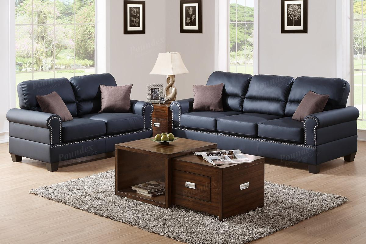Aspen black leather sofa and set of 2 DEZOJCJ