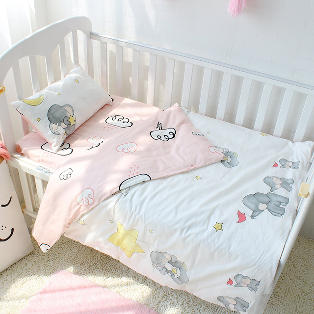 Baby bedding sets, set of 3 made of pure cotton Baby bedding set, elephant pattern Baby bedding HQZIFNV