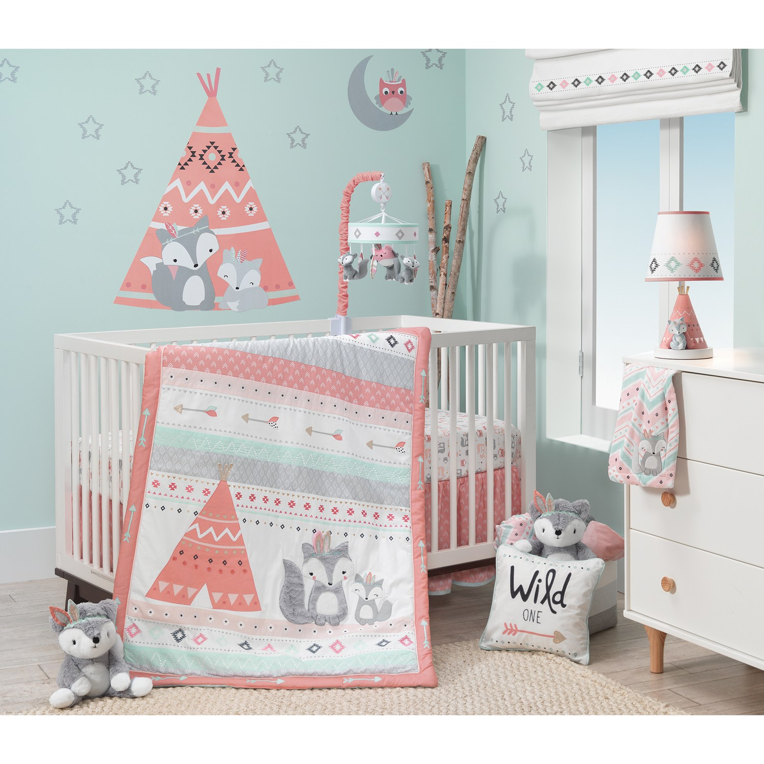 Baby bedding sets little ghost fox, tipi & arrows crib bedding EDJUCPS