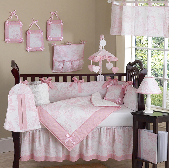 Baby bedding sets pink and white French Toile Baby bedding - 9-piece cot set XIDANZS