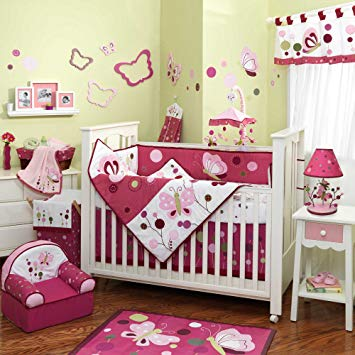 Baby bedding sets raspberry swirl 6-piece baby bed bedding set with bumper by lambs ZMRLRYO