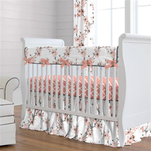 Baby bedding sets shabby chenille bedding · light coral red cherry blossom bedding for children QBLLUQJ