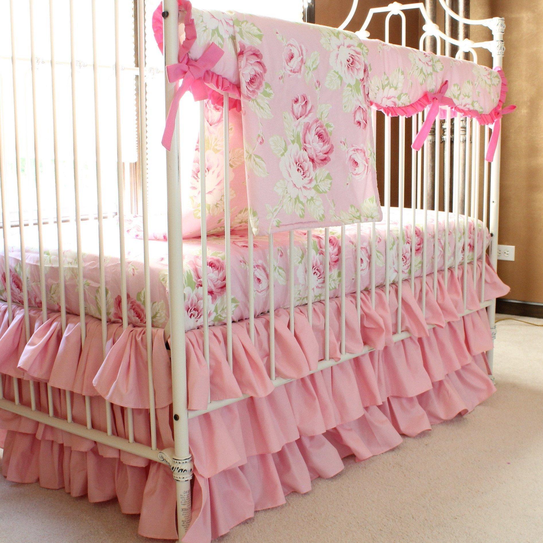 Baby bedding sets vintage shabby chic roses flower pink    Baby bedding set UHEFEBM