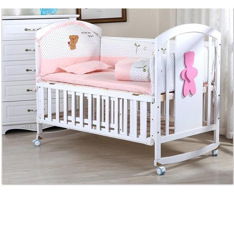 Baby bed 100% cotton bedding sets bed rail curtain crib fence 5 JUSSMSB