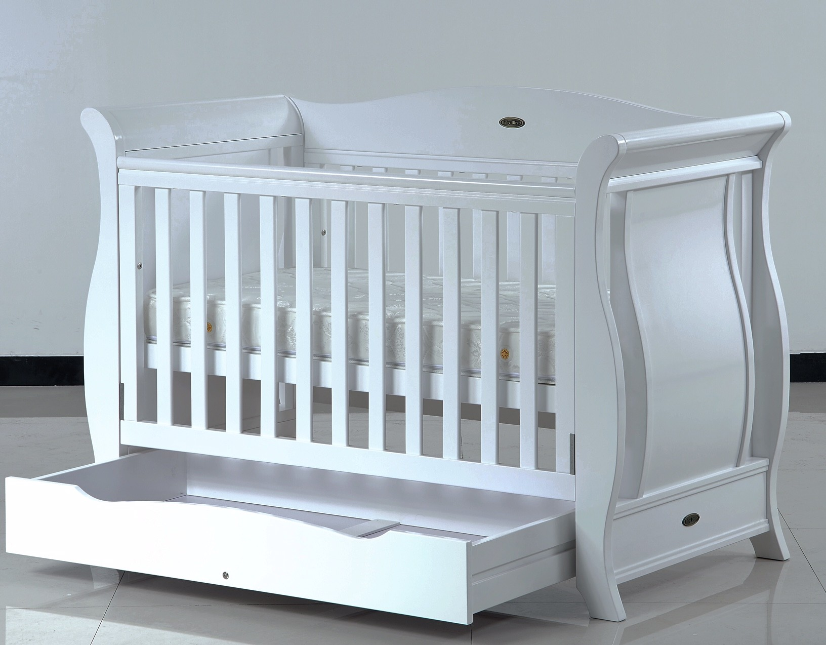 baby bed baby direct emporium bed + mattress - white OHPTUJH