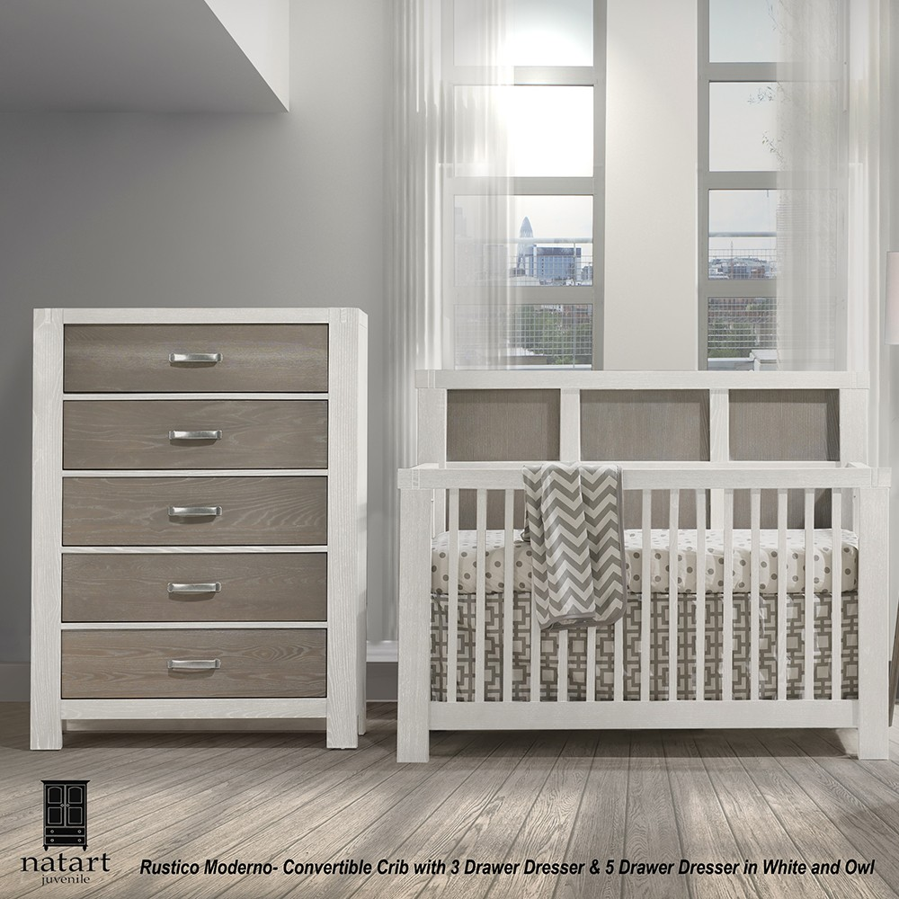 Baby furniture Natart Rustico Moderno convertible crib and chest of drawers QBNZBZV