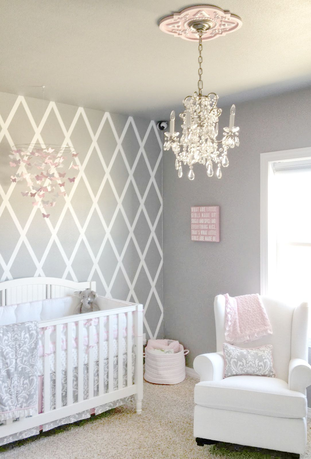 Baby girl's bedroom beautiful gray and pink children's room has our stella gray baby bedding NJEZKFK