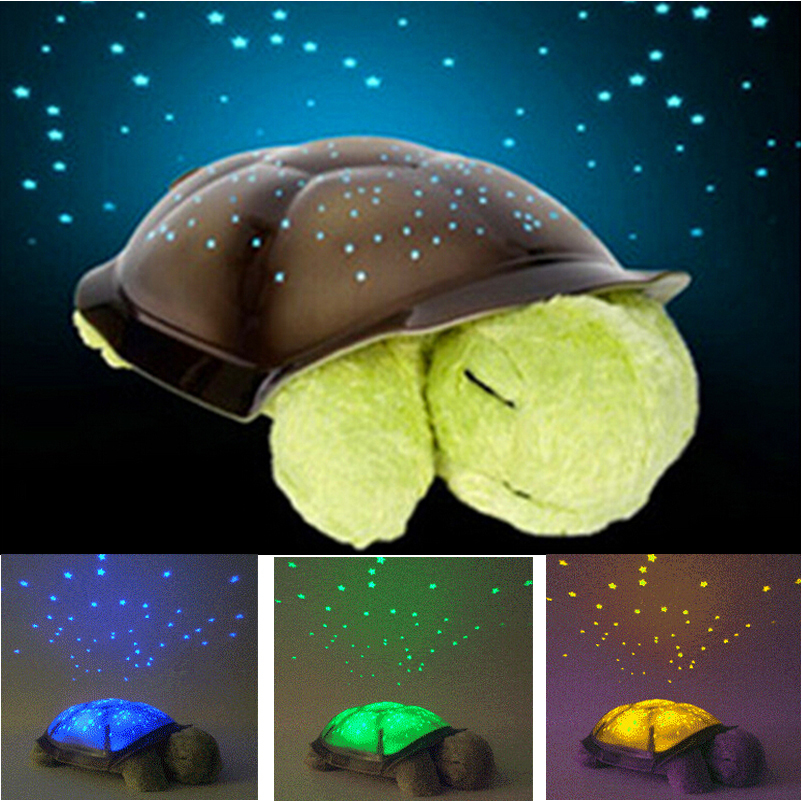 Baby night light projector with music free shipping 4 colors cute design turtle LED night light star projector DBDOIBL stars