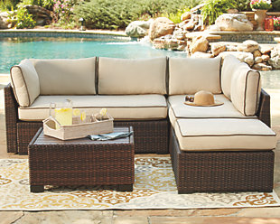 Garden furniture ... large Loughran 4-piece outdoor share set,, can be rolled over WTWNRJR
