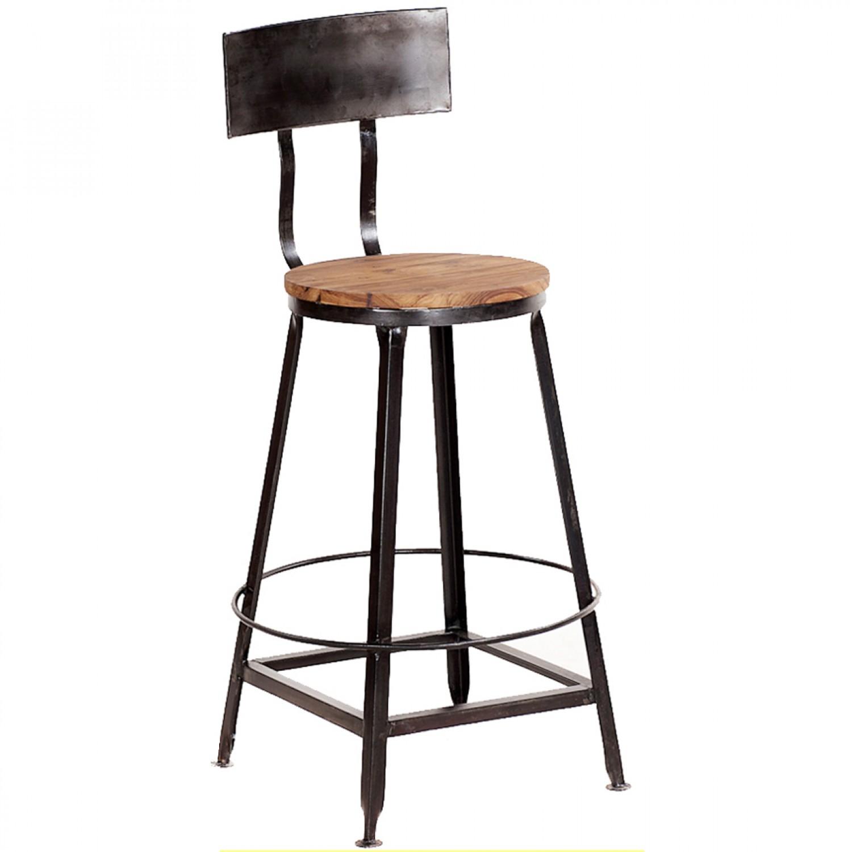 Bar stool with backrest - Metal bar stool with decofurnish backrest YFACCZN