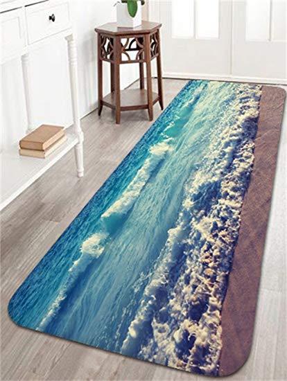 Bath rugs Ocean Beach Waves bath mats and rugs, flannel fabric non-slip rubber GRXRZUZ