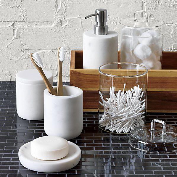 Marble bathroom accessories |  CB2 |  Modern bathroom accessories.