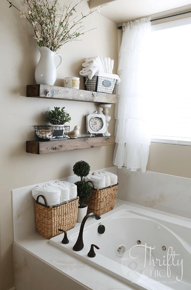 Bathroom decor 12. Wooden shelves in earth tone ZVVKLTZ
