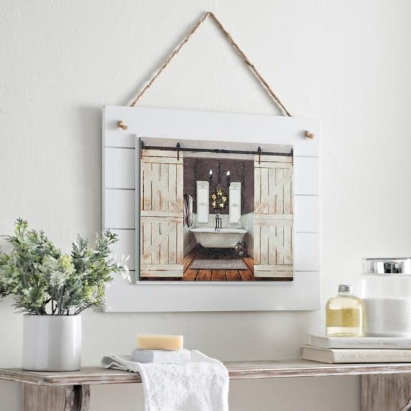 Bathroom decors barn door bathroom framed art print OULROQB