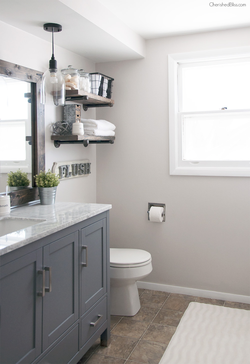 Bathroom makeovers for industrial country-style bathrooms: paint bathroom cabinets in deep gray up to XJNAMJQ