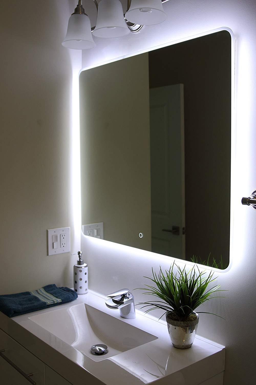 Bathroom mirror amazon.com: windbay backlit LED light bathroom vanity mirror.  illuminated mirror.  EVQXMNU