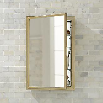 Bathroom mirror Beau small antique brass medicine cabinet HBOVDFM