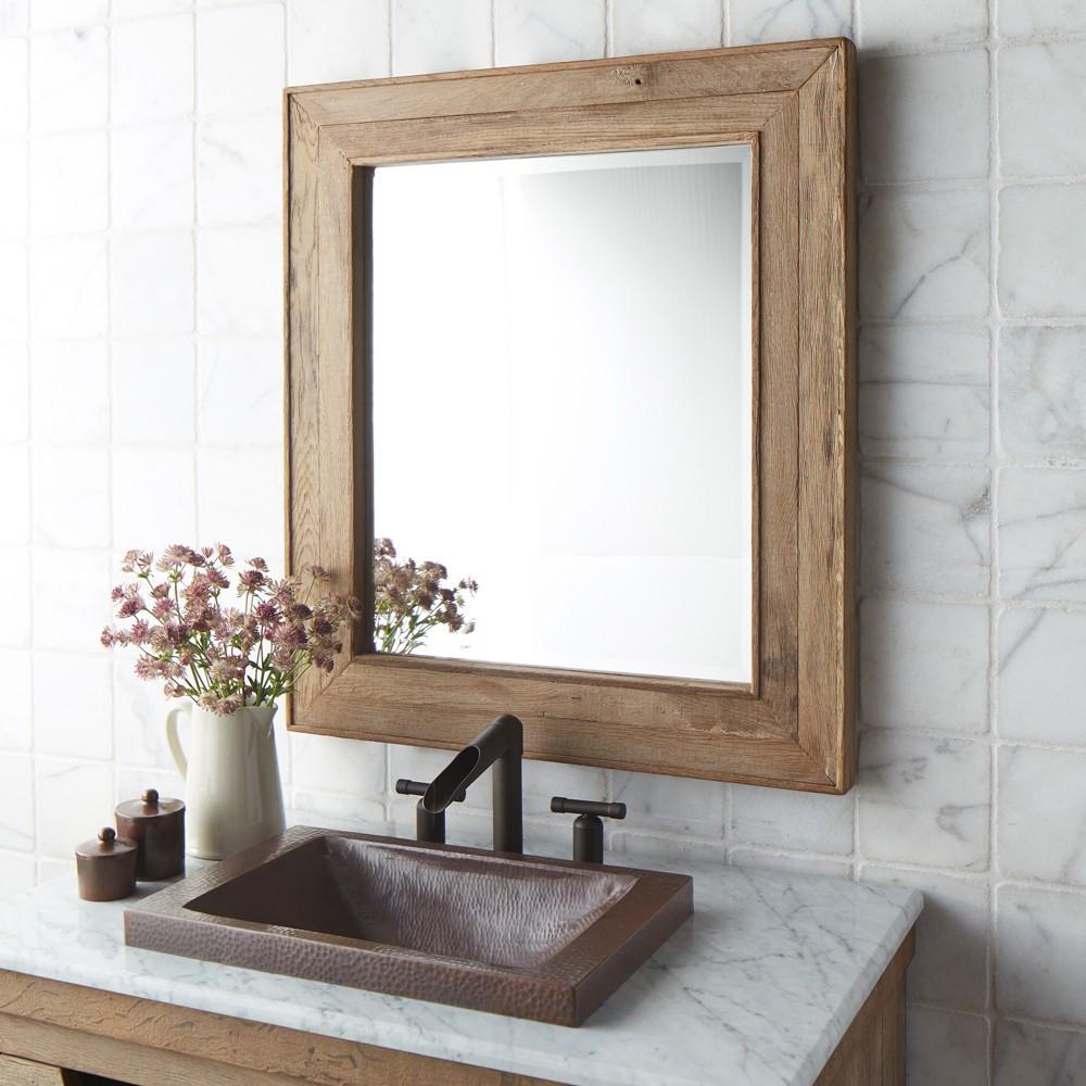 Bathroom mirror Chardonnay 29 inch rectangular mirror made of weathered oak RCHLUVE