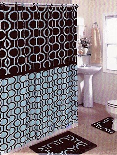 Bathroom sets brown & blue 15-piece bathroom set, bath rugs, shower curtain & rings JBSKQET