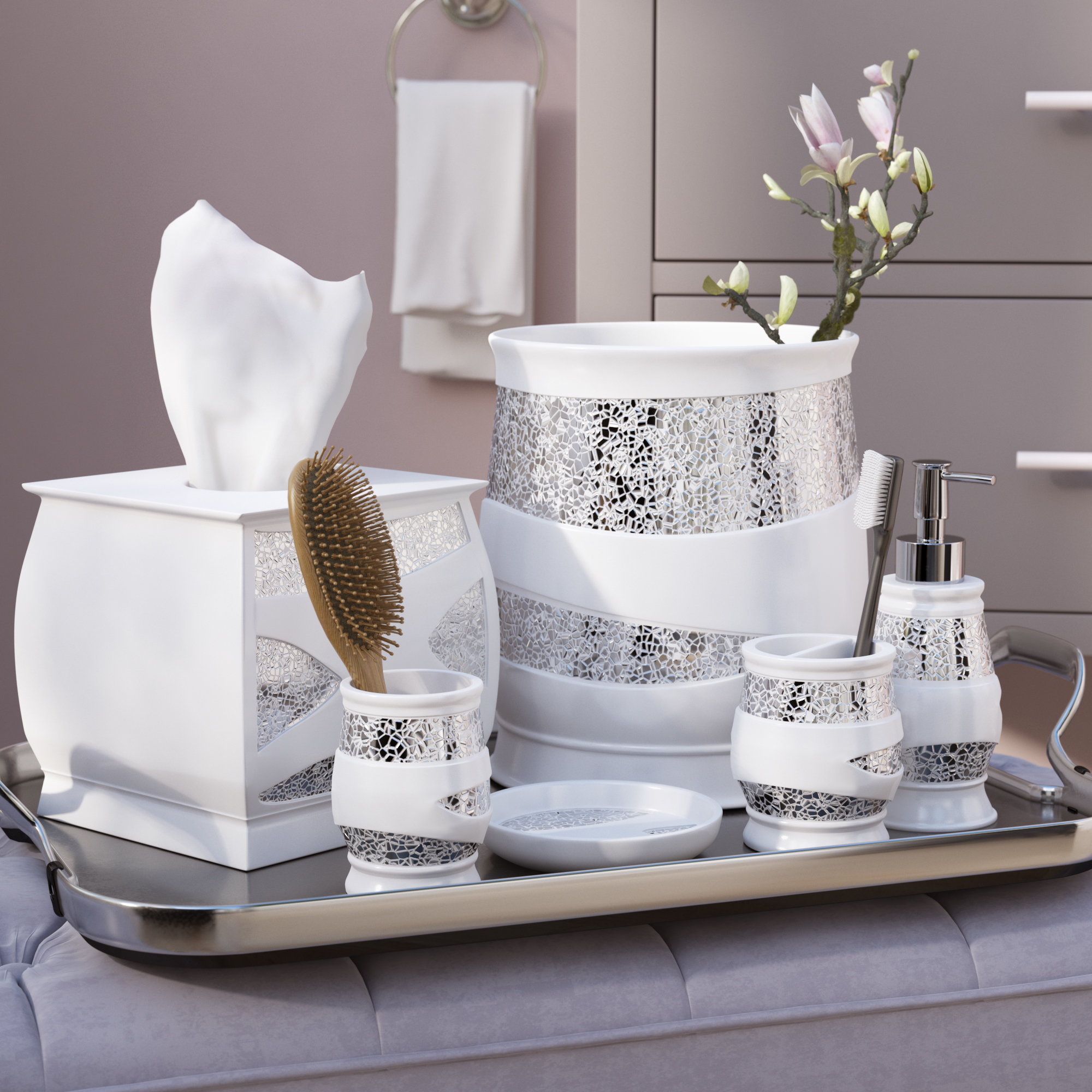 badsets willa arlo interiors rivet 6 pieces white / silver bathroom accessories set & GRUFCMU