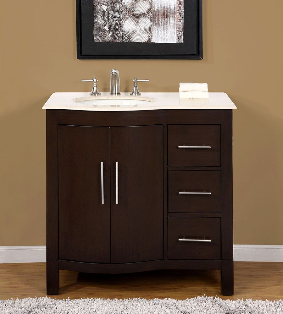 Marble Top Bathroom Sink Cabinets 36 inch bathroom vanity with marble top off center on the left side sink cabinet SXAKMVZ