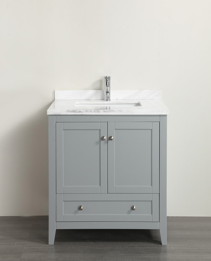 Washbasin cabinets with marble top classic 30 inch gray bathroom vanity with white Carrera marble top MWMMUGG