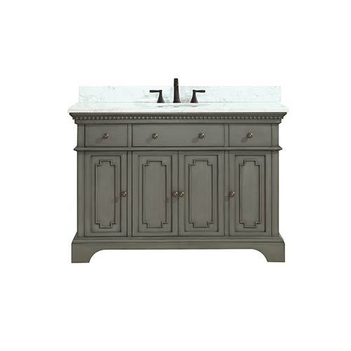 Marble Top Bathroom Sink Cabinets Hastings 49 '' Vanity Top in French Gray Finish with White Carrera Marble SSGWKJM