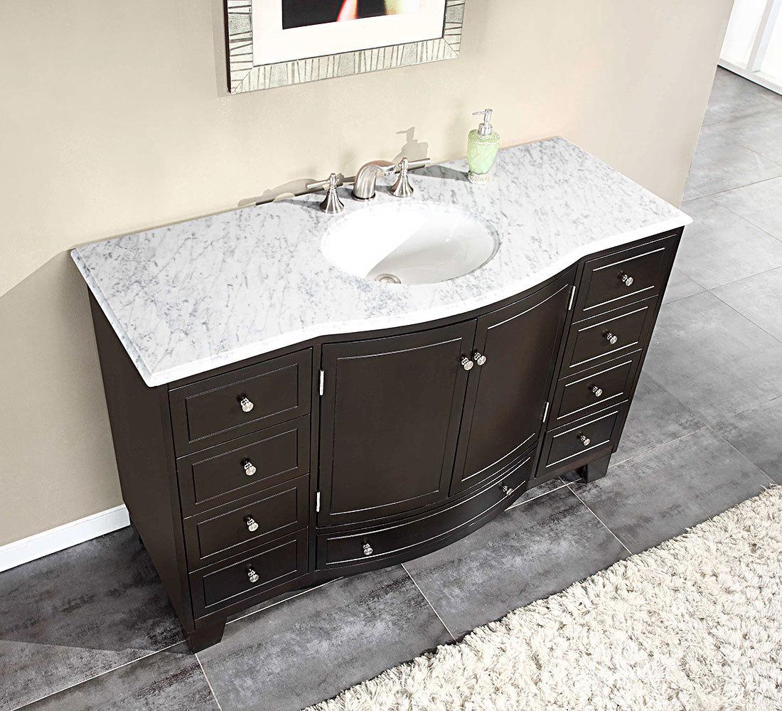 Marble Top Washbasin Cabinets Silkroad 55 Inch Single Bathroom Vanity Top Carrara White Marble Top ... SHQCNAB