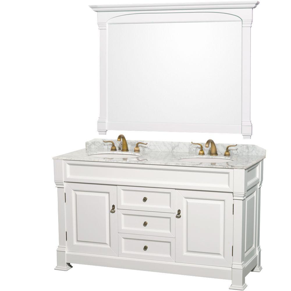 Washbasin cabinets with marble top Wyndham collection and over 60 inch double washbasin in white with marble washbasin VUNJOCZ