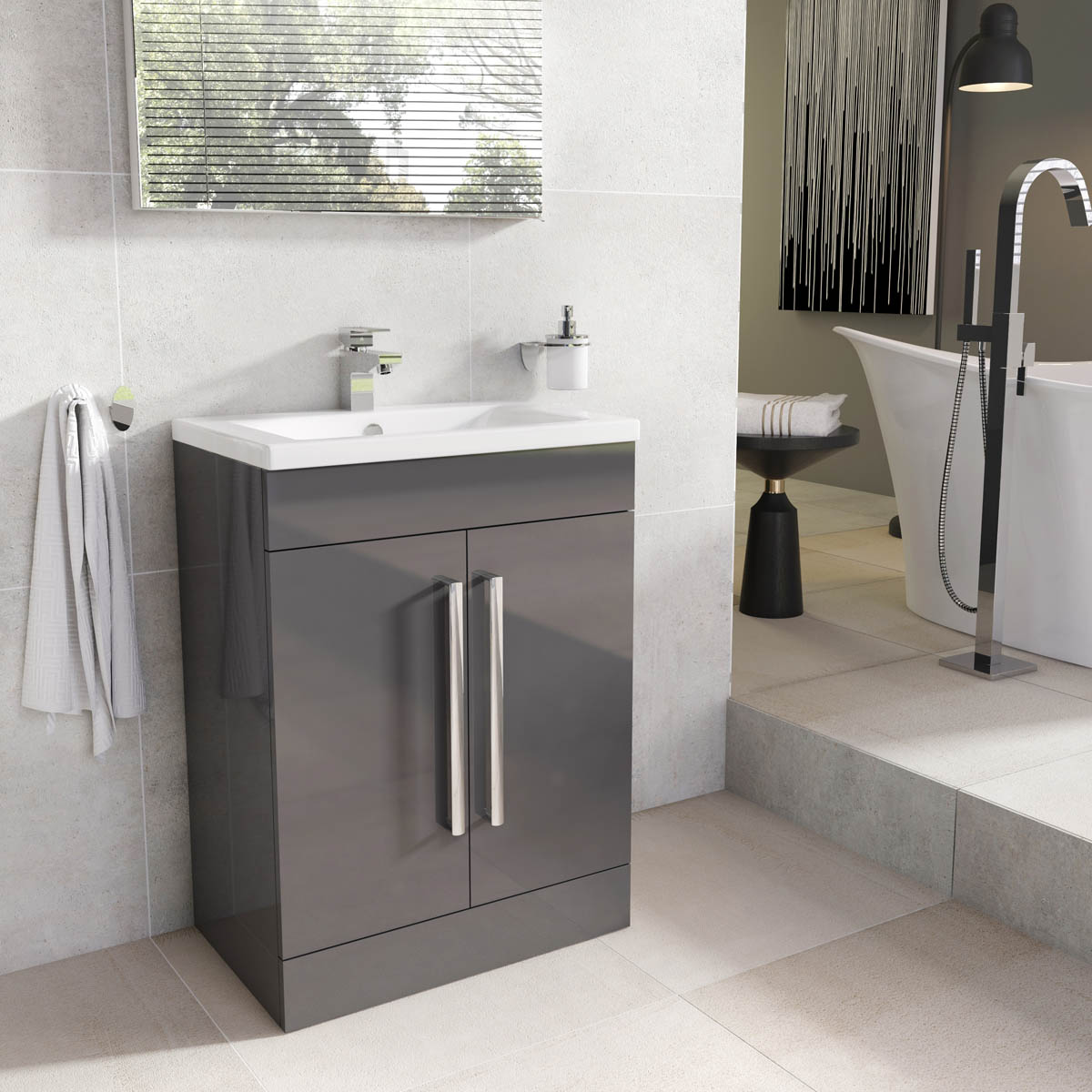 Bathroom vanity units image is loading newton-anthracite-gray-bathroom-standing-vanity unit- ZGEXQAC