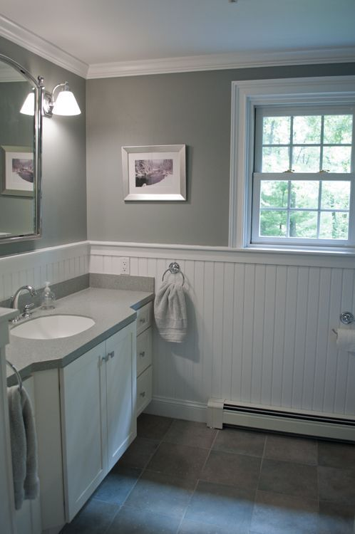 Bathroom design in New England.  Custom by PNB.  Porcelain stone look.