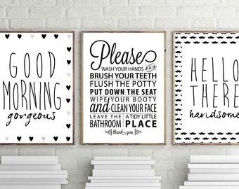 Bathroom wall art, good morning beautiful print, hello beautiful print, bathroom rules ZCUUWLW