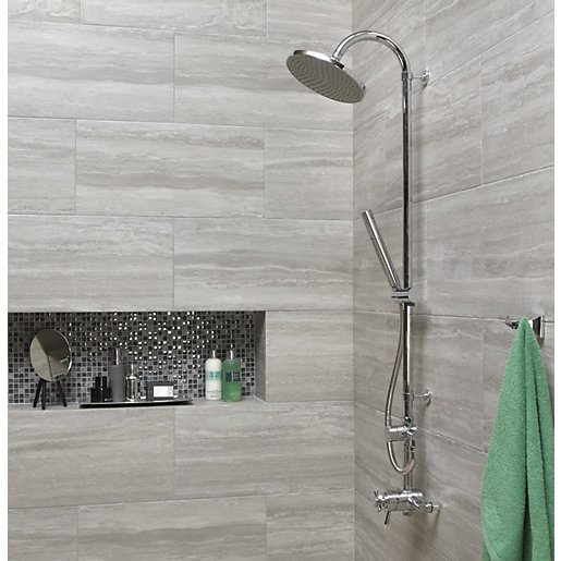 Wall tiles for bathroom Wickes Everest Stone porcelain stoneware 600 x 300mm HABSVBS