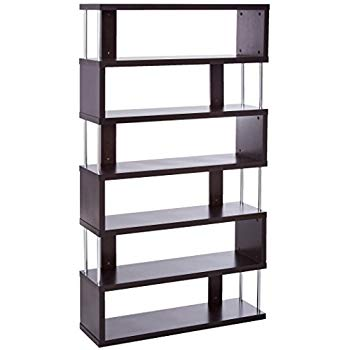 Baxton Studio Barnes Modern bookcase with 6 shelves, dark brown MQJQRWA