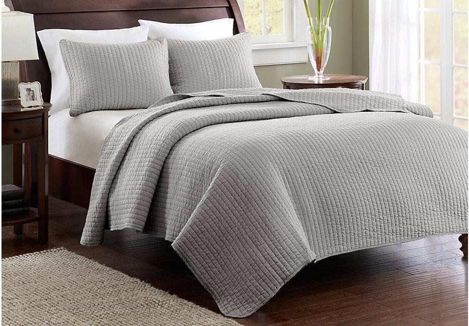 Bed sheet keaton gray 3-part.  Complete / queen duvet set NNZEUGF
