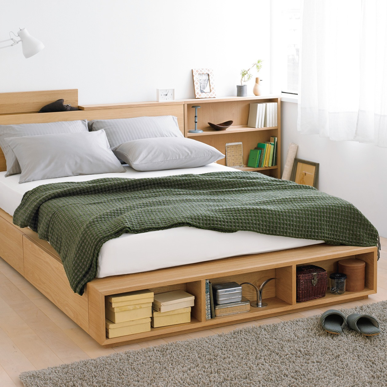 Bed with storage space mujiu0027s large double light ash bed has two large drawers and EPTVUZE