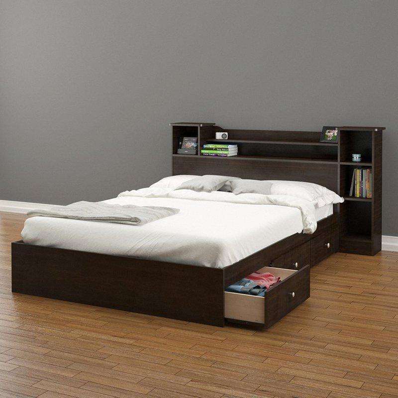 Bed with storage Pocono bookcase storage bed    Hayneedle WVWGSEU