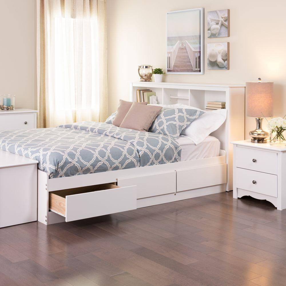 Bed with storage space Prepac Monterey solid wood bed with storage space ATPMZER