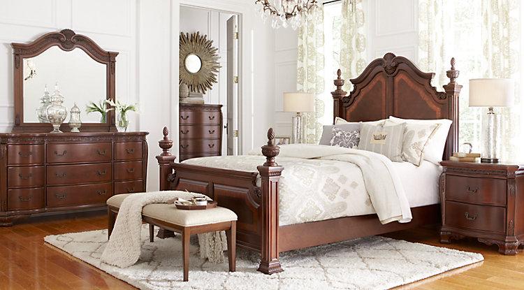 Bedroom furniture Cortinella Cherry 5 pieces King Poster bedroom JEMUENX