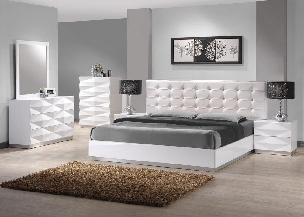 Bedroom Sets amazon.com: ju0026m Furniture Verona Modern White Lacquer & Leather Bedroom Set TKUOIDG