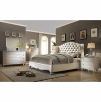 Bedroom furniture sets pearly white tufted wing back bed Faux Croc bedroom furniture set KFJQNEN