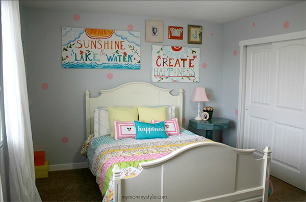 Bedroom ideas for girls use polka dots to add fun to walls and creative DIY wall hangings AERQTWT