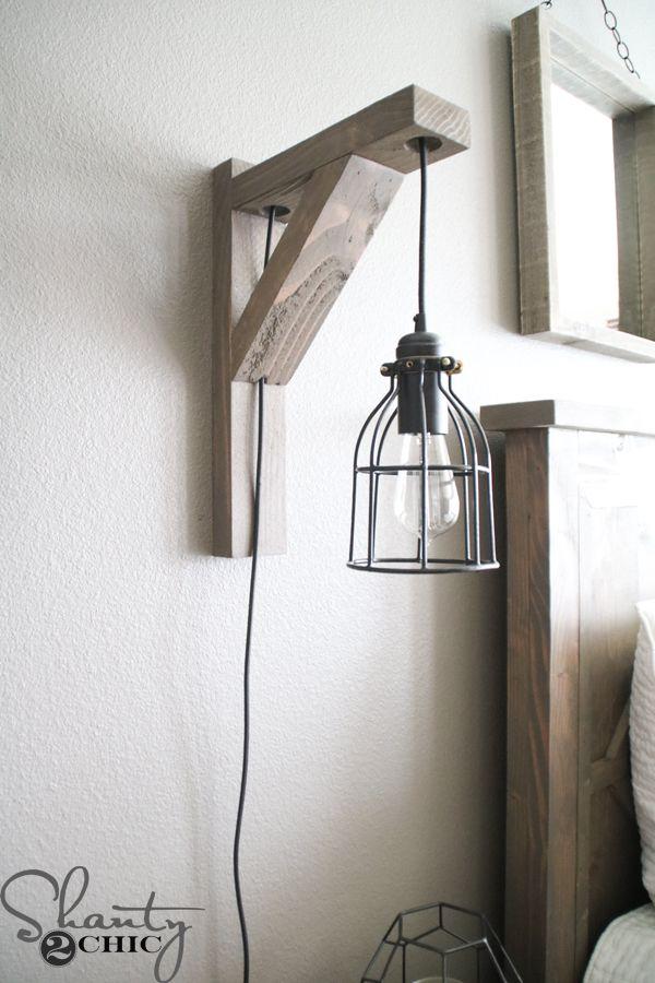 Bedroom lamps build this DIY rustic Corbel Light wall sconce for $ 25!  creative bedroom lamp COKQTAK