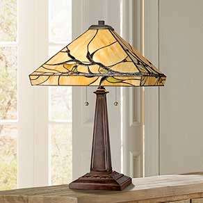 Tiffany style bedroom lamps.  Bronze table lamps FJJXRWD