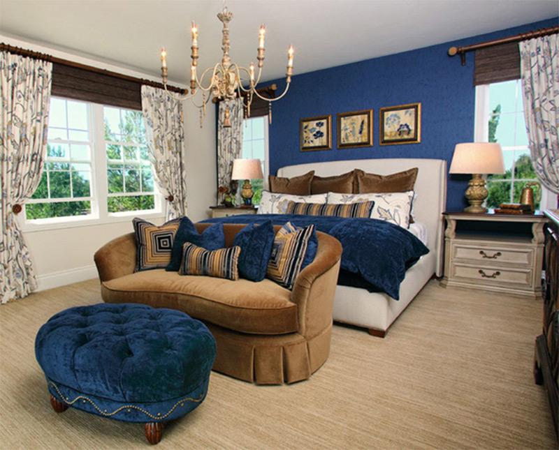 Bedroom sofa royal blue master bedroom interior luxury sofa ottoman UMSVIEX