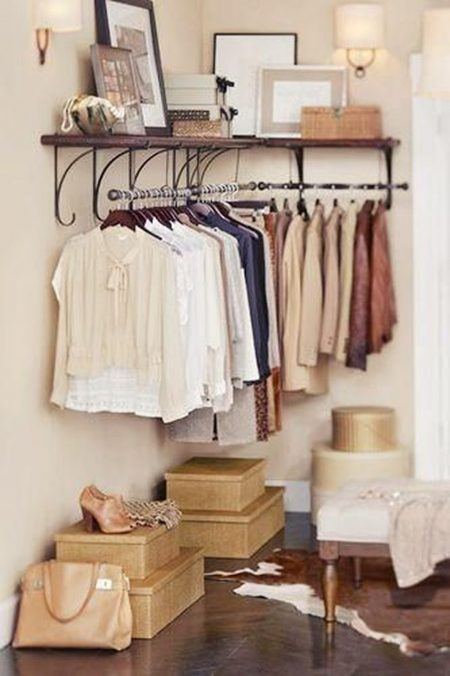 Storage Ideas in the Bedroom Bedroom Storage Hack: Install a Clothes Rack in an Empty Corner BYDKQMM