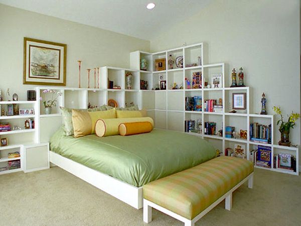 Ideas for storage in the bedroom.  Bookshelf idea is cool.  love it ECYHWNE