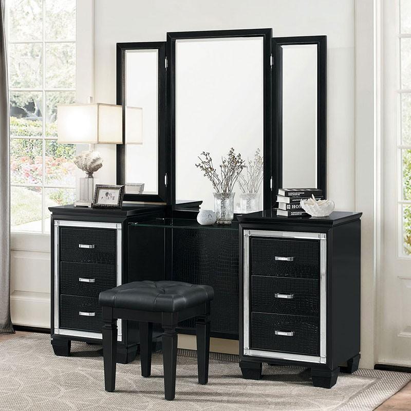 Bedroom washbasin allura make-up chest with mirror (black) QYUUDRQ