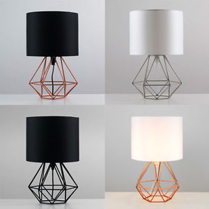 Bedside lamps image is loading geometric-retro-style-wire-cage-table-lamps-bedside-lamps- AXPEFFB