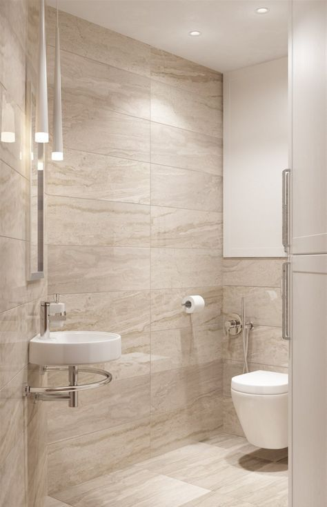 a modern bathroom in beige and tan and a touch of white, with.